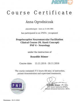 kurs kliniczny w koncepcji PNF - neurologia