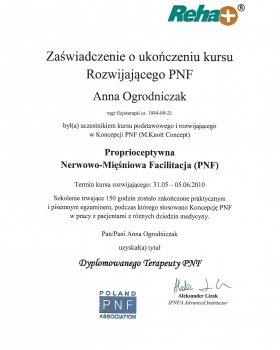 uzyskanie tytułu Dyplomowanego Terapeuty PNF