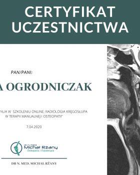 szkolenie on-line Radiologia kręgosłupa w terapii manualnej i osteopatii