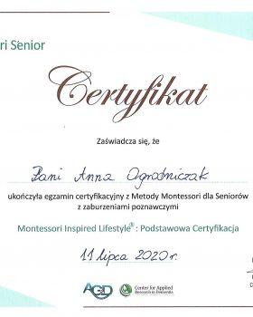 Certyfikat Montessori dla Seniorów z zaburzeniami poznawczymi 11.07.2020 r.